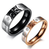 TITANIUM RING Cincin Couple Size 7(F) & 9(M) [GS205] - Silver and Gold & Silver and Black - Cincin